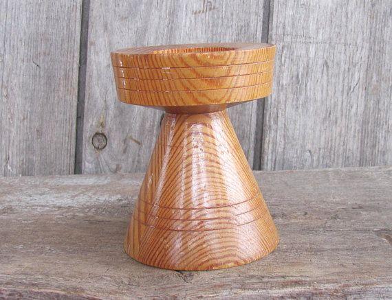 """Swedish Vintage Candle Holder; H 4.5""""/ 11cm Modern Candle Holder; Vintage Turned Wood Candle Holder; Pillar Candle Holder; Tealight Holder"""