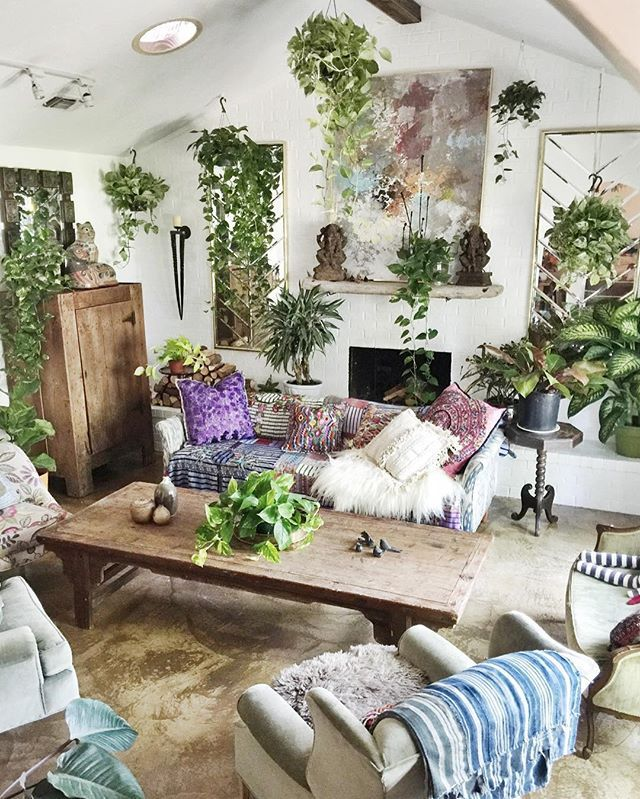 Too many plants but i like it for the home home decor - Boho chic living room decorating ideas ...