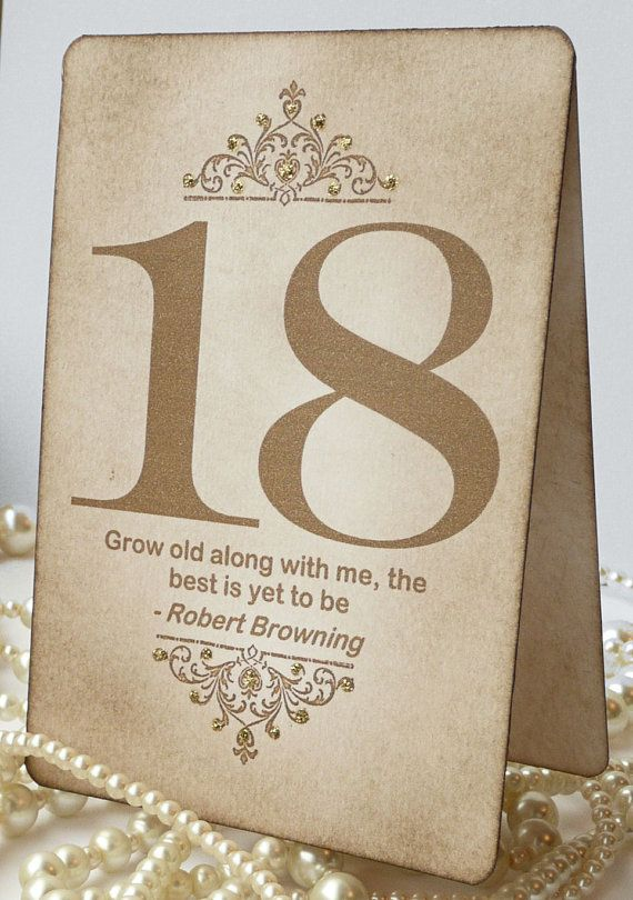 Gold Wedding Table Numbers - Vintage Charm with QUOTES - All Handmade in the UK - Your Color Choice. $90.00, via Etsy.