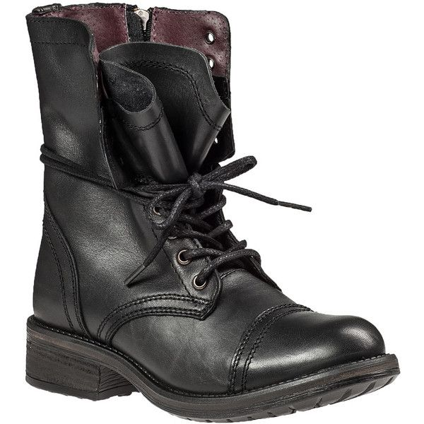 STEVE MADDEN Tropa-2.0 Lace-Up Boot Black Leather ($63) ❤ liked on Polyvore featuring shoes, boots, ankle booties, ankle boots, black leather, steve madden booties, black bootie, short black boots, black ankle booties and leather lace up boots
