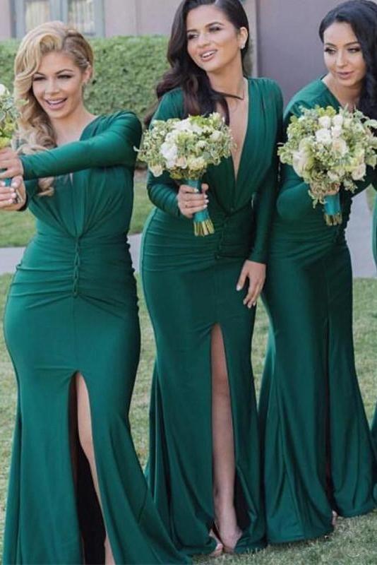 0ca089076d7f #dresses #bridesmaids #bridesmaiddresses #promdresses Sexy Mermaid Long  Sleeves V-Neck Pleats Front Split Bridesmaid Dresses,Prom Dresses #long  #angrila