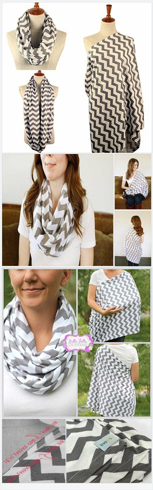 LiveBox Extra Long Breast Feeding InfinityNursing Scarf (Grey and White Chevron) - Every Thing Baby