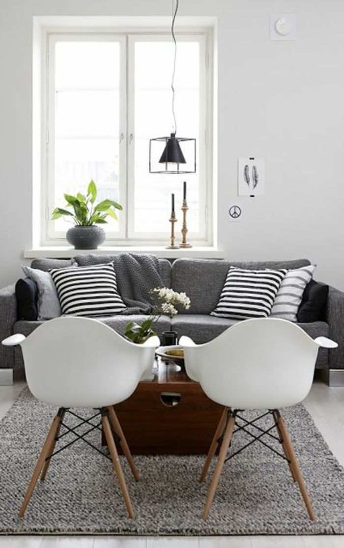 deco salon avec canape gris et blanc. Black Bedroom Furniture Sets. Home Design Ideas