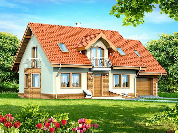 Jest to piękny dom przeznaczony dla 3-6 osobowej rodziny o eleganckiej formie i tradycyjnej estetyce. Jest to budynek parterowy z użytkowym poddaszem, niepodpiwniczony, z garażem jednostanowiskowym