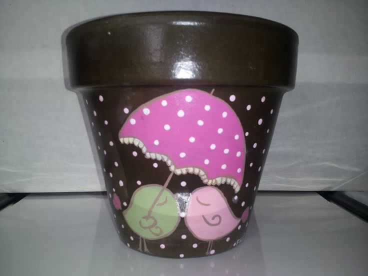 Hand painted flower pot by FacesTreasures on Etsy, $14.00