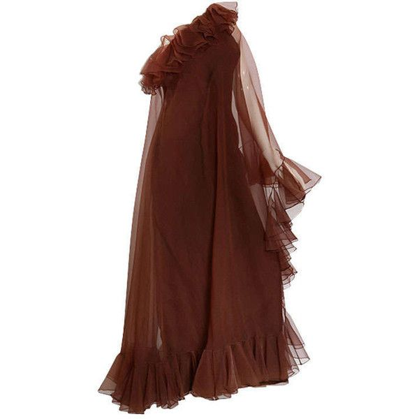 Pre-owned 1970's Malcolm Starr One-Shouldered Cinnamon Ruffle Gown ($232) ❤ liked on Polyvore featuring dresses, gowns, evening gowns, evening dresses, silver evening gowns, one shoulder ruffle dress, tight fitted dresses, silver sequin evening gown and sequin gown