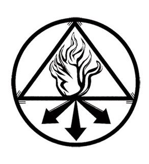 "The Red King- The triangle and lower arrow adjoin to create the chemical symbol of sulphur. The ring symbolizes eternity or ""a coming together' and the arrows are a symbol for manifestation."