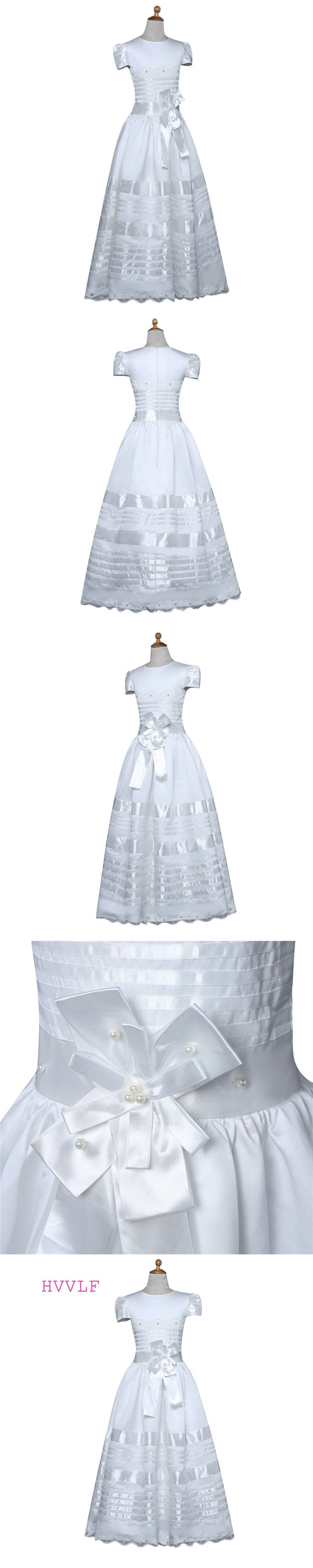 White 2018 Flower Girl Dresses For Weddings A-line Cap Sleeves Lace Bow Pearls First Communion Dresses For Little Girls