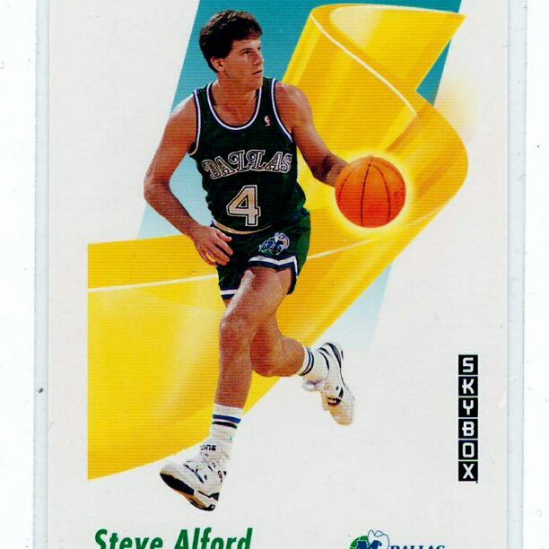 Steve Alford 1991 Skybox - 2-Card Lot .. All cards in mint condition and stored properly (red binder) ..    The pic images are scan image not stock photo .. The scan images will show any damage to sports cards .