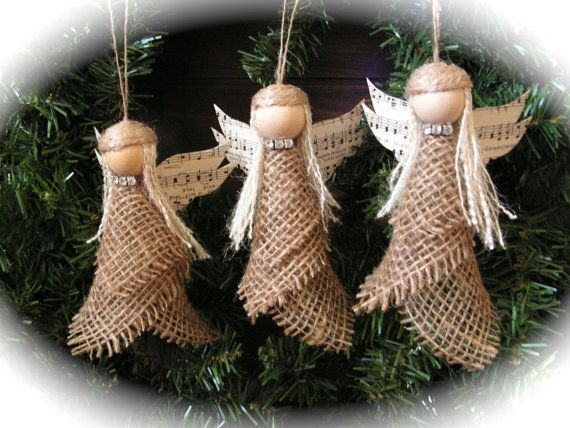 Christmas Ornament  burlap angel   set of 3 qTVG3Q7r