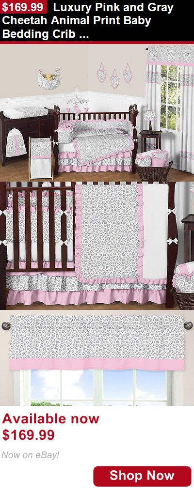 Nursery Bedding Sets: Luxury Pink And Gray Cheetah Animal Print Baby Bedding Crib Set For Newborn Girl BUY IT NOW ONLY: $169.99