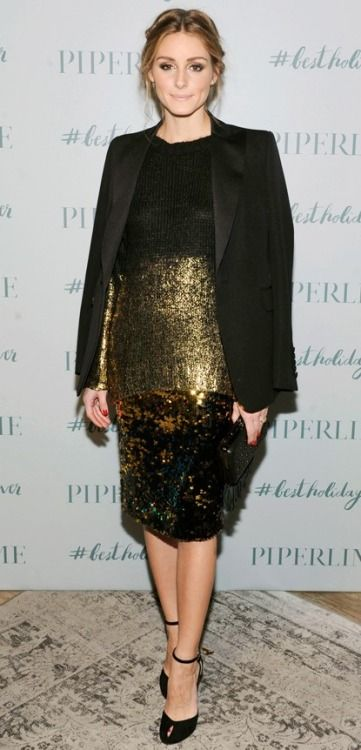 ... in a gold-dipped Piperlime Collection knit that she layered over a  high-shine sequined Milly skirt, styling the two with a sharp tuxedo  jacket, a black ...