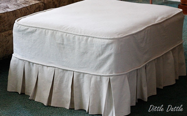 Ottoman Slipcover Made Of Drop Cloth Http Dittledattle