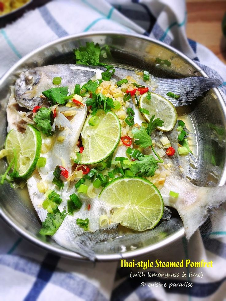 Cuisine Paradise | Singapore Food Blog | Recipes, Reviews And Travel: [3 recipes] Thai-style Steamed Pomfret, Seafood Tom Yum and Thai Basil Minced Pork  - Thai-style Steamed Pomfret with lemongrass, chilli and lime