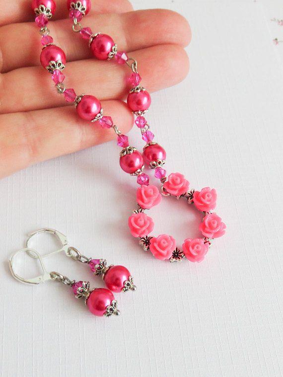 Hot pink little girls jewelry set. #weddings #wedding #hotpink #flowergirl #jewelry #handmade #crafts #flowers #kids #children
