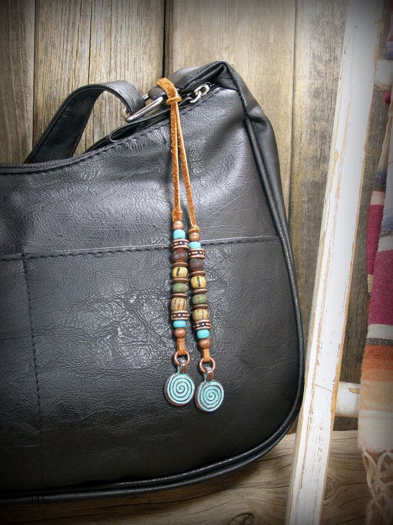 Purse Tassel Beaded Leather Charm Boho Dangle for Purse for Belt Loop