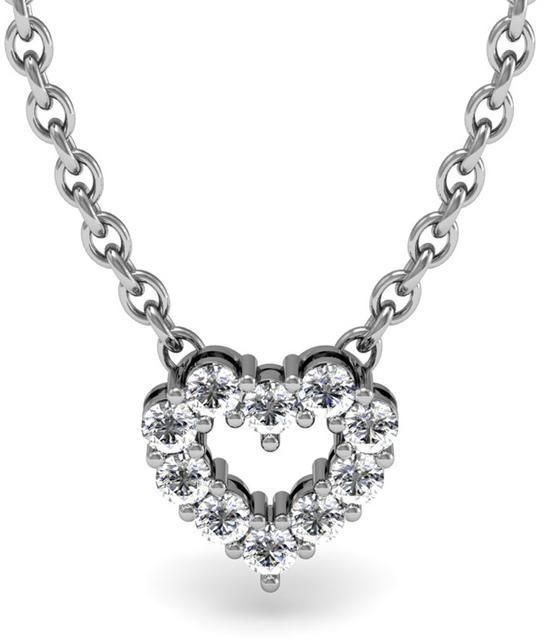 Ice 2/7 CT TW Diamond Sterling Silver Heart-Shaped Necklace with 18-inch Cable Chain