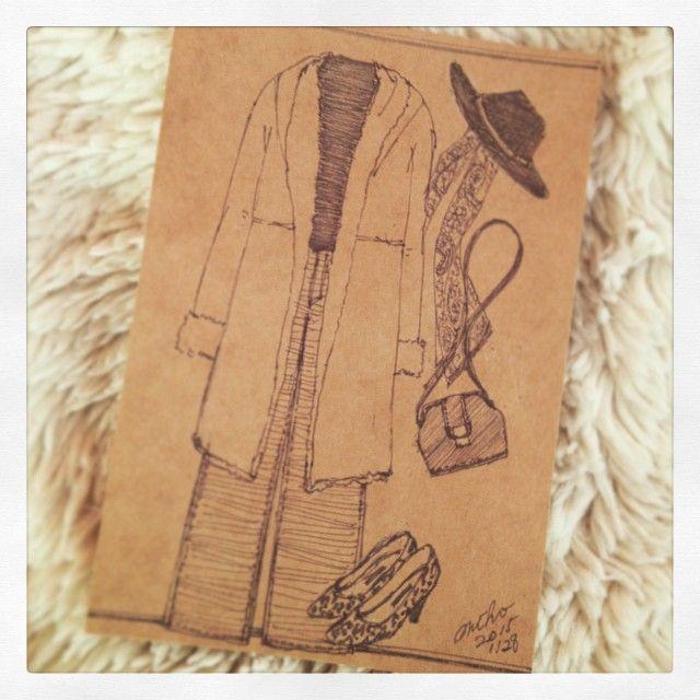Today's illustration☆ キャメルのムートンコートとワイドパンツ。70's Mood #ボールペンイラスト #illustration #fashion #コーデ #ファッションイラスト #ワイドパンツ