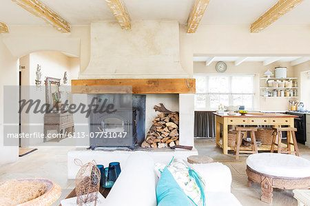 Living room and kitchen of rustic house – Image © Masterfile.com: Creative Stock Photos, Vectors and Illustrations for Web, Mobile and Print