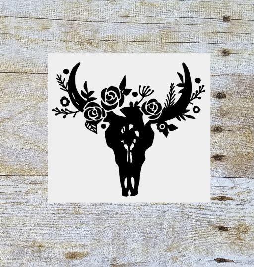 Steer skull floral decal, floral cow skull, flower bull skull, yeti decal, tumbler decal, tumbler cup decal, cow skull decal, vinyl decal by SouthernAnchorShop on Etsy https://www.etsy.com/listing/494878957/steer-skull-floral-decal-floral-cow