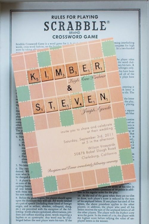 Scrabble lovers wedding invitation designed by The Goodness