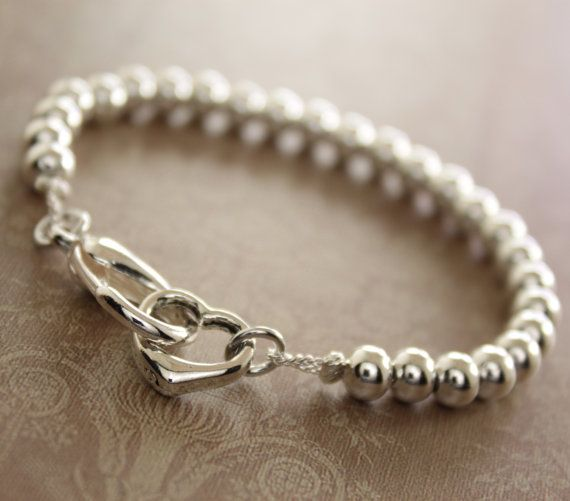 Tiffany inspired silver ball beads bracelet with a heart and lobster clasp closure - Tiffany style - Silver ball bracelet on Etsy, $19.50