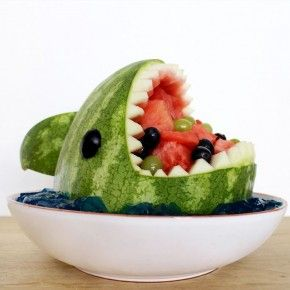 How to Make a Shark-Shaped Watermelon Fruit Bowl #FWx