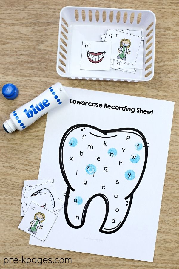Dental Health Alphabet Activity. Perfect for a dental health or community helper theme at home or in your preschool or Pre-K classroom.