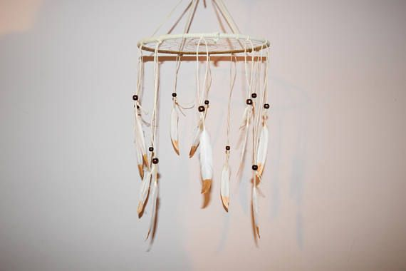 Mobile Dream Catcher made with gold painted feathers wall