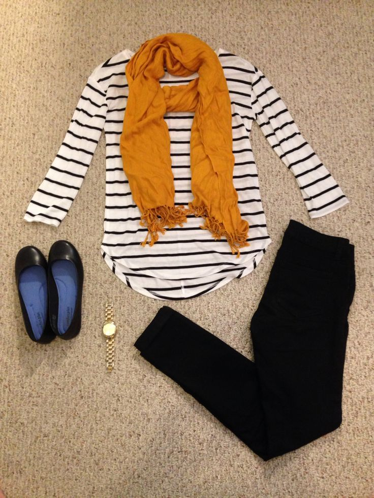 striped, nautical shirt is great; I love the contrasting scarf.