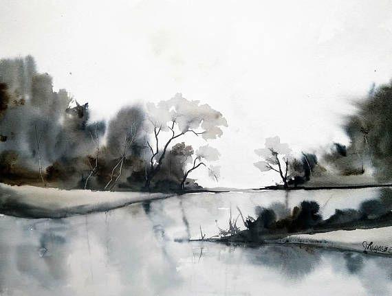 Original Aquarell Malerei Von Jim Lagasse Baumen Malerei