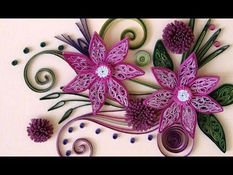▶ New : Art & Craft How to make Beautiful Quilling Red/IW White Flower design -Paper Art Quilling - YouTube