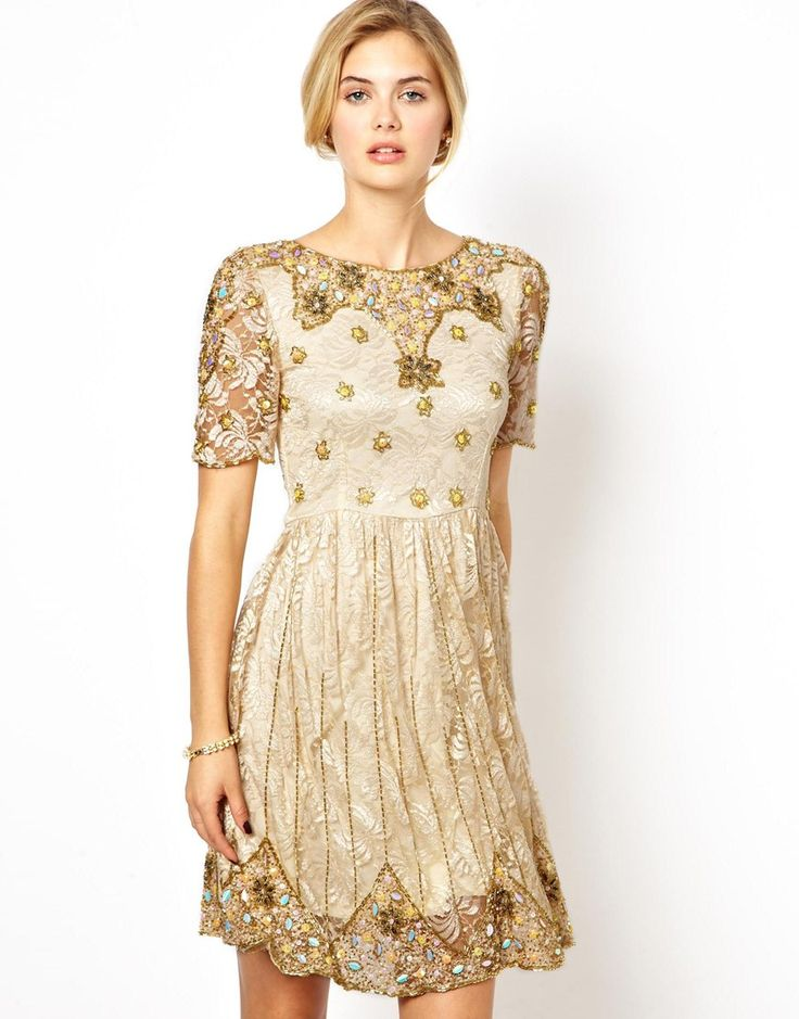 Frock and Frill   Frock and Frill Embellished Skater Dress with Open Back at ASOS