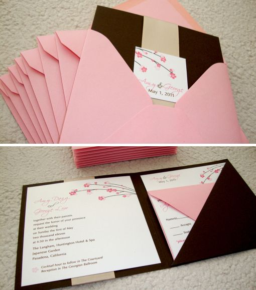 diy cherry blossom invitations | Wedding Invitations | papercake gal's design blog