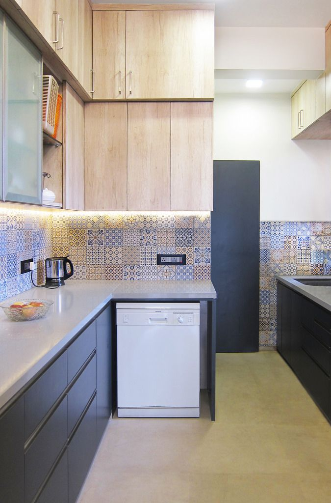 A Travel Inspired Apartment In Mumbai Dress Your Home Indian Kitchen Interior Kitchen Design Kitchen Cabinets Design Layout