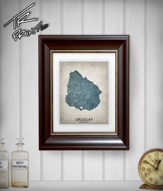 Uruguay Map Art Print Home Is Where The Heart Is Love by TRPrints