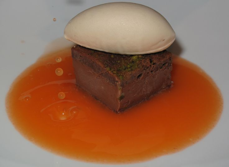 "new dessert: ""cioccolato al ginepro""  chocolate, juniper essence, carrot, ornage, beer icecream"