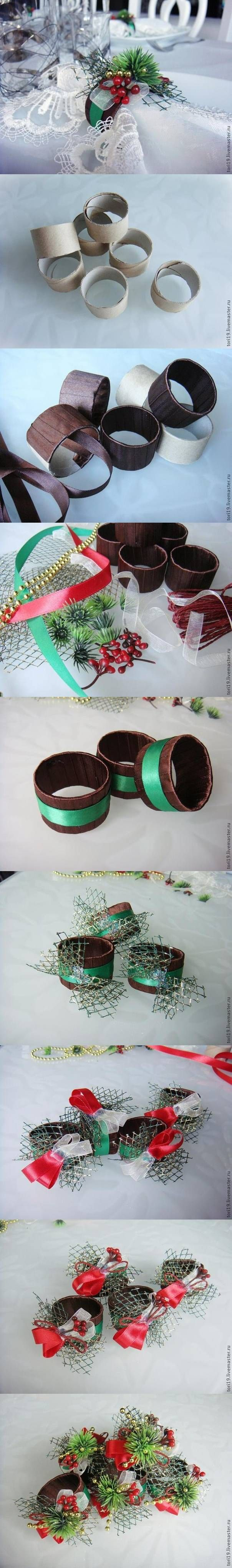 Argolas de guardanapo http://www.usefuldiy.com/diy-toilet-roll-custom-napkin-rings/