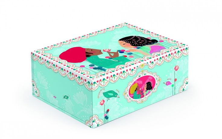 Kincsesláda kislányoknak.    A vastag kartonból készült doboz könnyedén összeállítható. Mágnessel záródik.