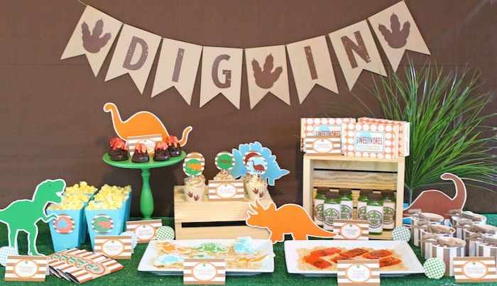 Sweet Table from a Jurassic Dino Hunt Dinosaur Birthday Party via Kara's Party Ideas | KarasPartyIdeas.com
