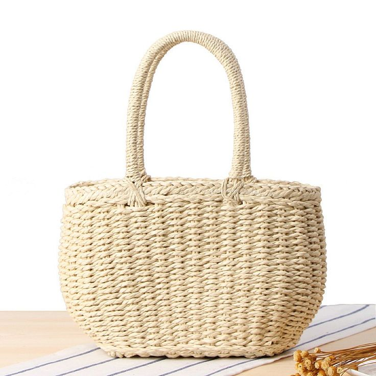 Beige Straw Beach Bag Light Weight Tote Bag on Sale with Worldwide FREE SHIPPING…
