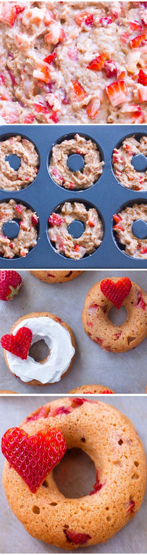 Super Soft BAKED Strawberry Donuts, SO GOOD!!
