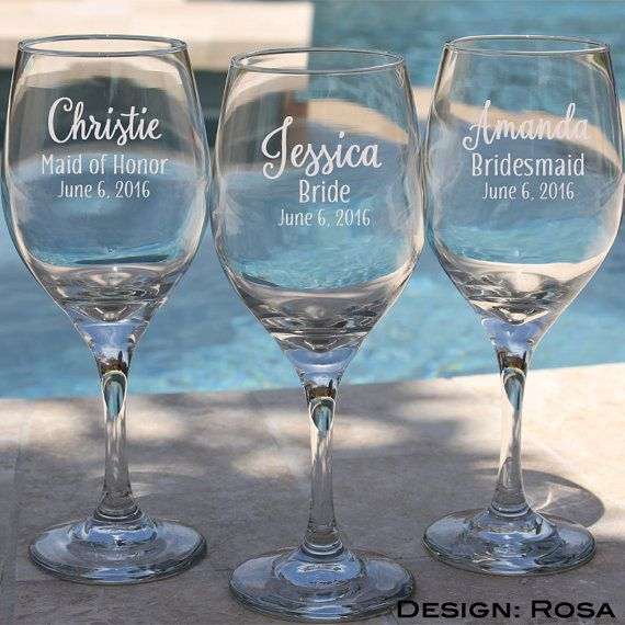 Wedding Favors- 7 Engraved Bridesmaid Wine Glasses, Gift for Bridesmaids, Personalized Wine Glasses, Etched Glasses, Personalized Glasses $73.50