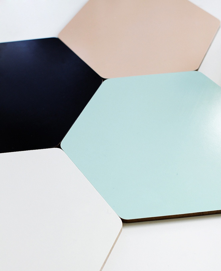 mint green, black and peach hexagon trivets. Like this for features in shower minus the 'peach'