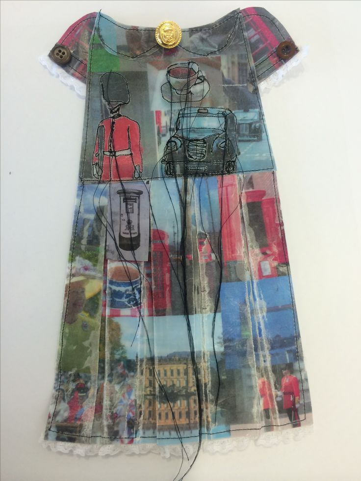 Kirsty Whitehead - Book 3 'Development Dress 1' Theme: British Heritage Inspiration: Jennifer Collier & Rita Zepf & Elizabeth Lecourt Technique: Tea Bag Fabric Template, Image Collaging, Waxing, Selected Stitching With Dangling Thread, Collar & Cuff Detail, Button Detail, Photocopied Old Monoprint.
