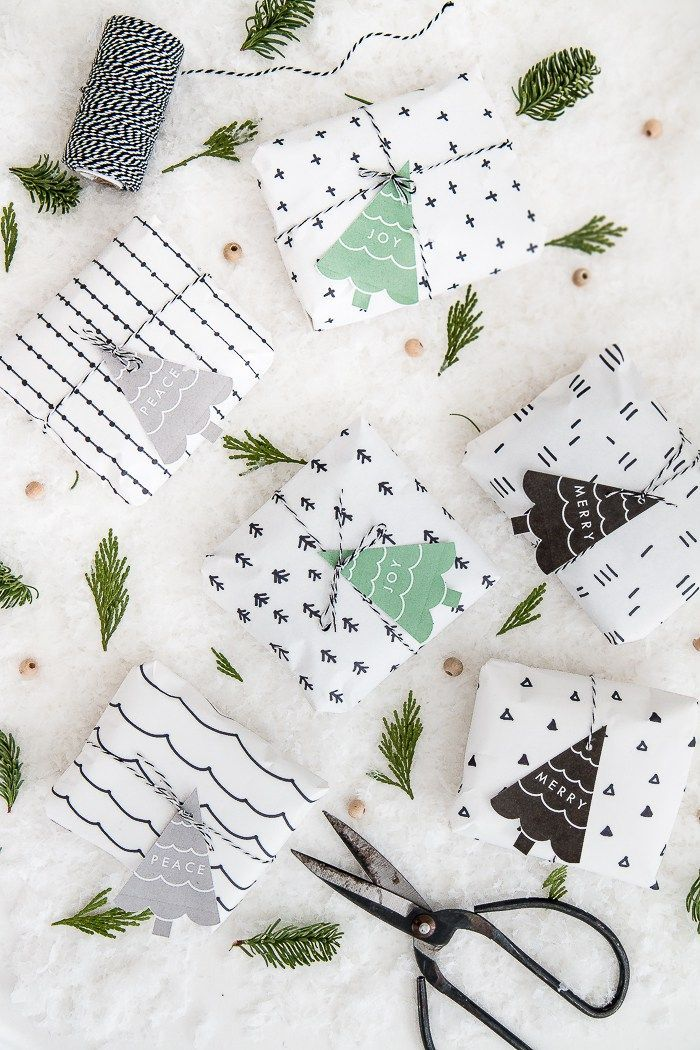 DIY Scandinavian Pattern Wrapping Paper + Free Printable Gift Tags