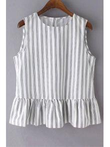 Striped Jewel Neck Sleeveless Ruffles Spliced T-Shirt