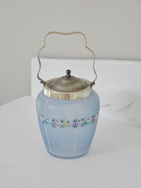 Vintage Blue Glass Biscuit Barrel, Cookie Jar. , via Etsy.