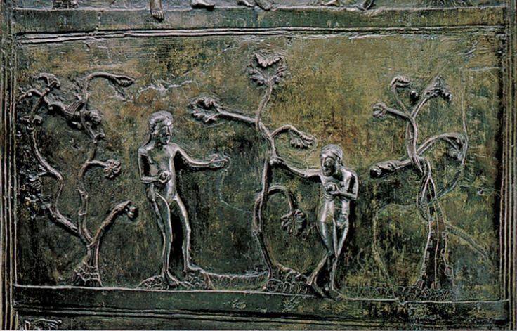 Detail Of Hildesheim Doors Expulsion From The Garden Of Eden Kunst Mitteleuropa 900