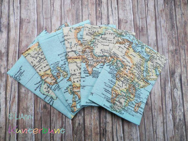 Büchertaschen - Weltkarte - Kontinent aussuchen! - Reisepasshülle - ein Designerstück von LiAnn-Kunterbunt bei DaWanda